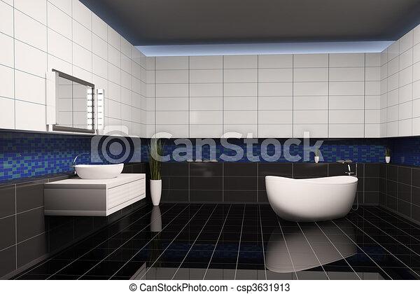 Disegni di interno bagno 3d bagno con nero blu - Bagno blu e bianco ...