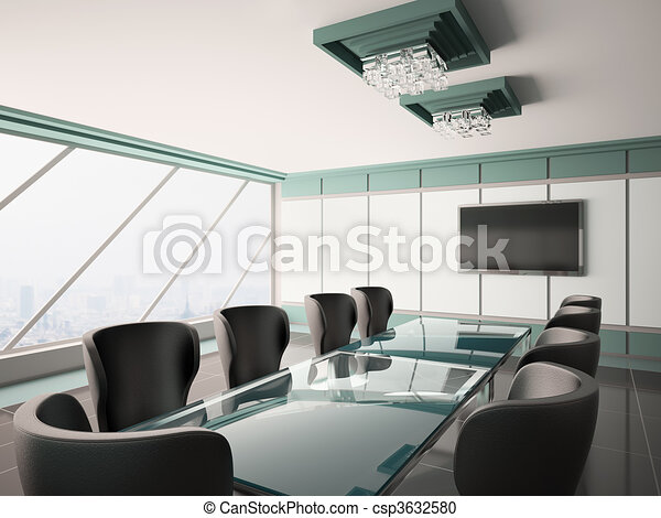 Modern boardroom interior 3d - csp3632580