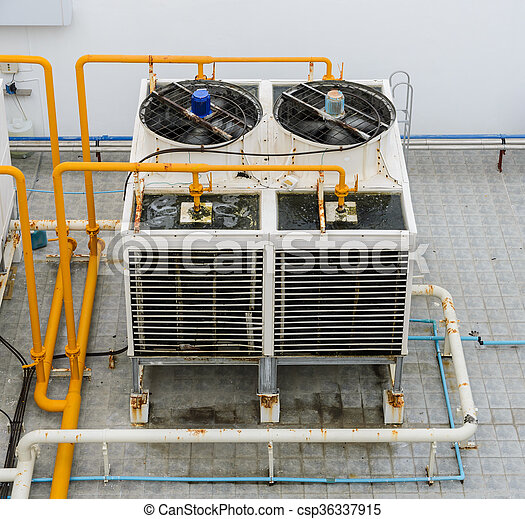 Industrial cooling towers on rooftop - csp36337915