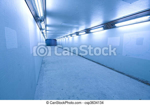 long tunnel with lamps and nobody walking - csp3634134