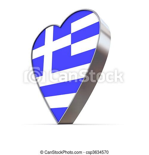 Solid Shiny Metallic Heart - Flag of Greek - csp3634570