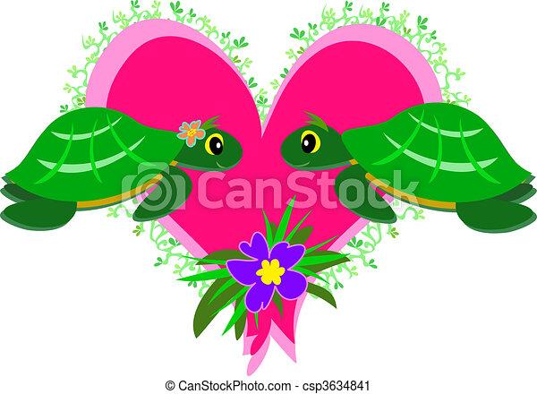 Clipart vettoriali di amore tartarughe qui paio for Tartarughe in amore