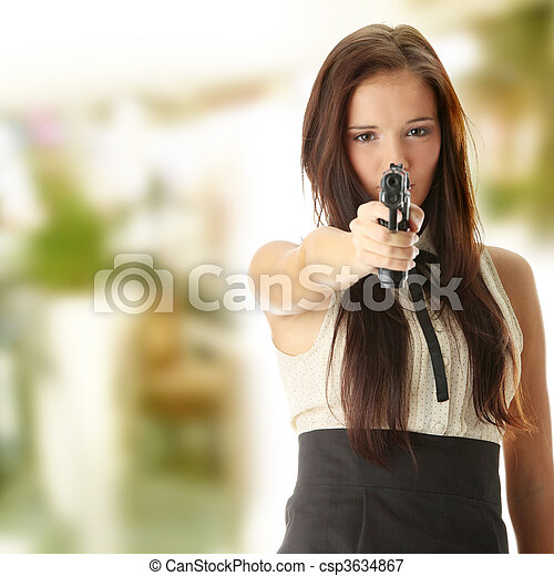 Young woman with hand gun - csp3634867