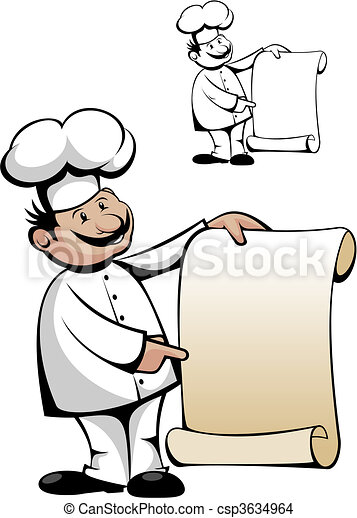 Chef in uniform with menu - csp3634964