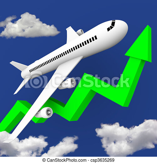 Airplane in Flight Along Green Arrow - csp3635269