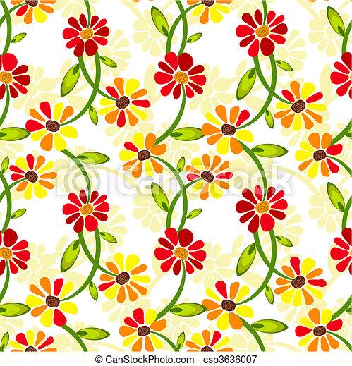 Seamless floral vivid pattern  - csp3636007
