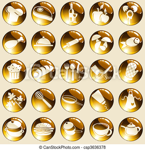 Round high-gloss food icons - csp3636378