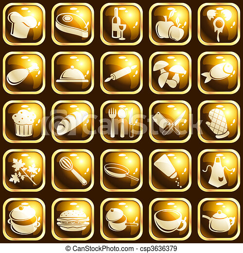 Square high-gloss food icons - csp3636379