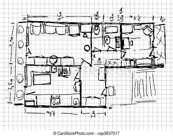 Redevelopment of apartment, sketch - csp3637017