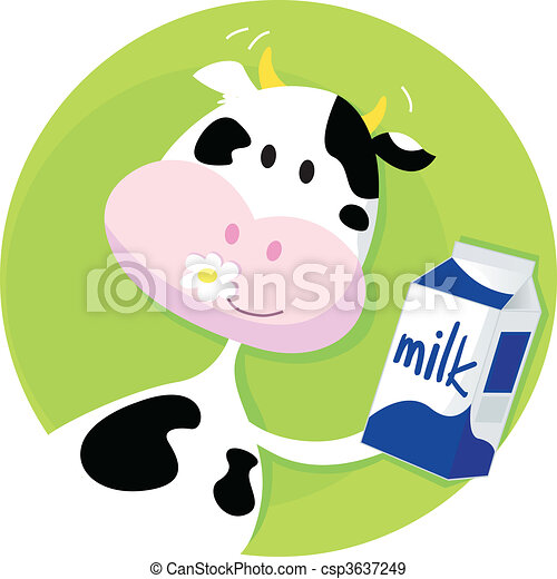 Happy cow with milk box on green - csp3637249
