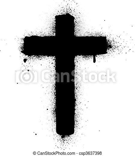 Cross spray graffiti ink vector ill - csp3637398