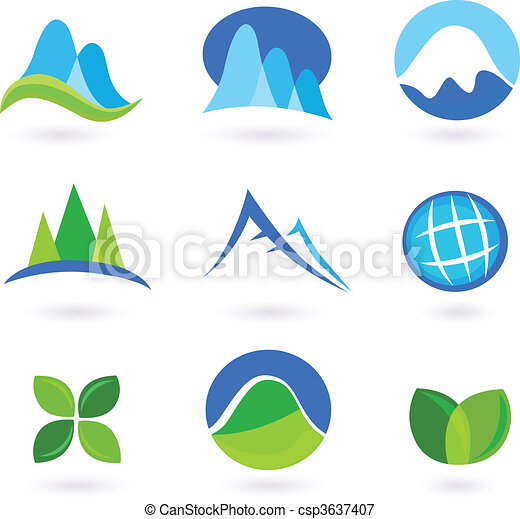 Nature, mountain and turism icons  - csp3637407