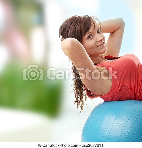 Young happy woman doing fitness exercise - csp3637811