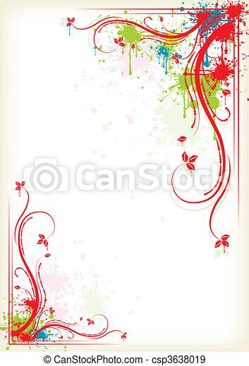 Splashing colorful floral frame - csp3638019