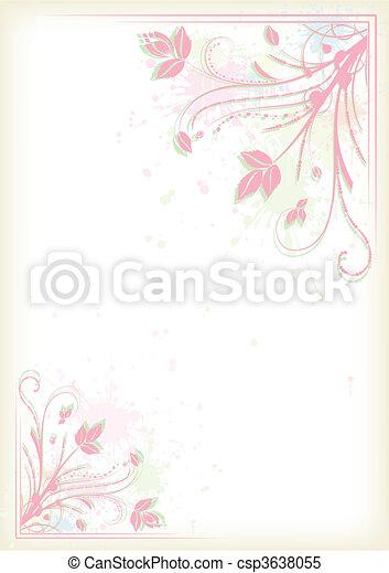 Splashing colorful floral frame - csp3638055