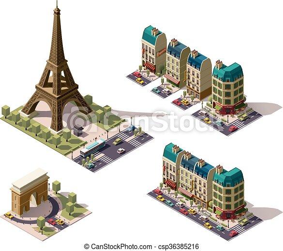 Vector isometric Paris architecture elements - csp36385216