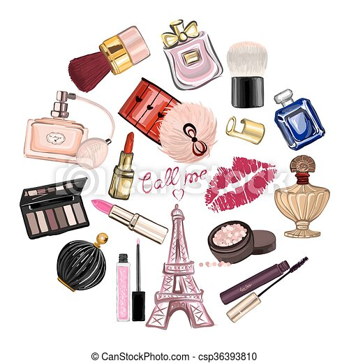 Clip art vecteur de produits de beaut ensemble dessin - Rangement produit de beaute ...
