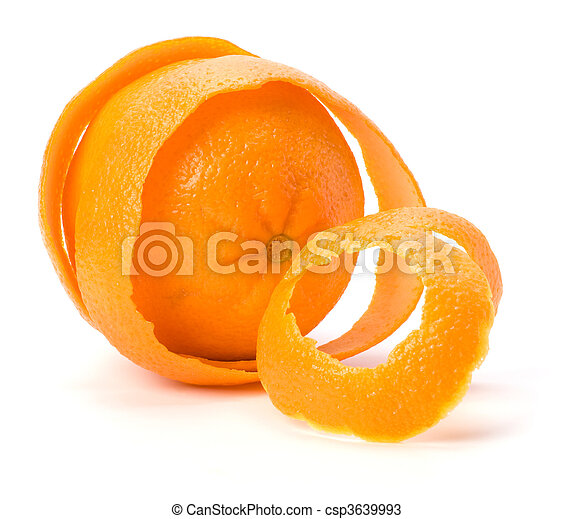Orange with double skin layer isolated on white background. Safeguard and safety concept. - csp3639993