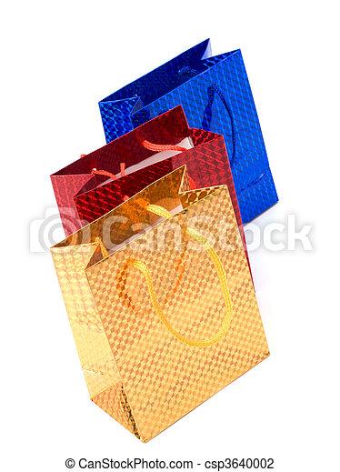 袋, 白, 背景, 隔離された, 贈り物 - csp3640002
