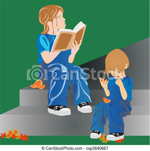 Sister reading to her sibling a boo - csp3640667