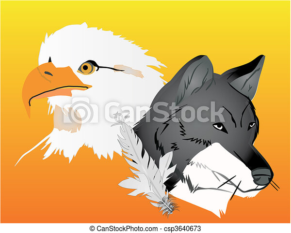 Wolf and Eagle spirits illustration - csp3640673