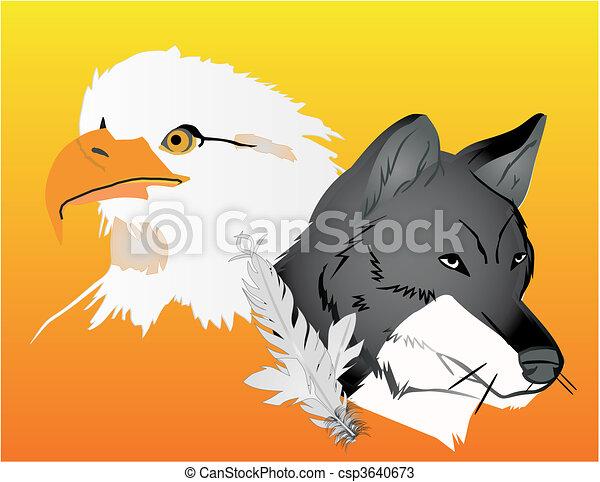 Wolf and Eagle spirits illustration - csp3640673