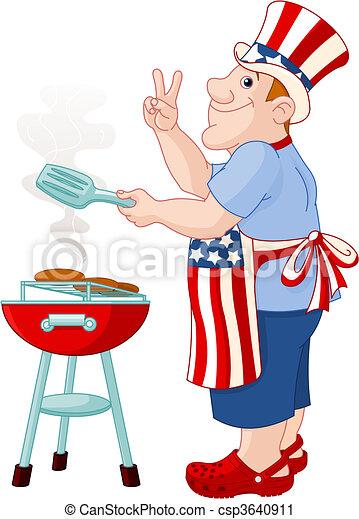 Man cooking A Hamburger - csp3640911