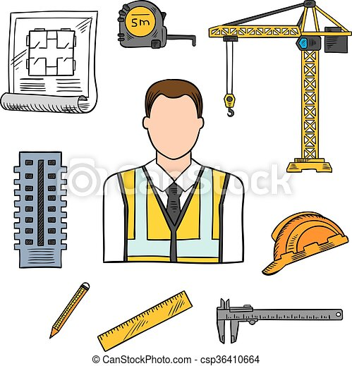 Clip Art Vector Of Engineer Sketch Icon For Civil