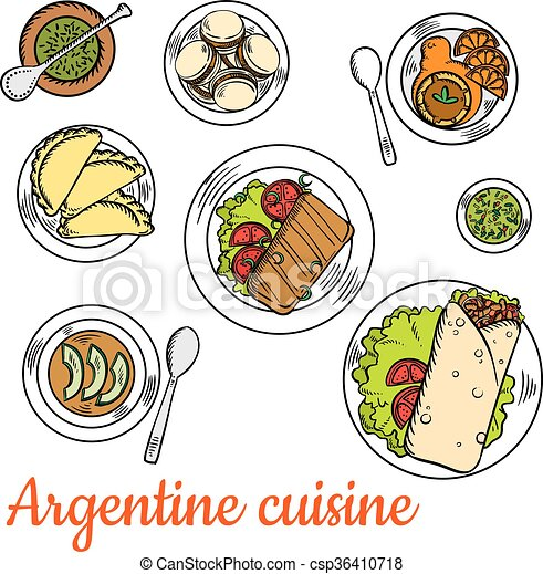 vector clip art of bright national dishes of argentine cuisine