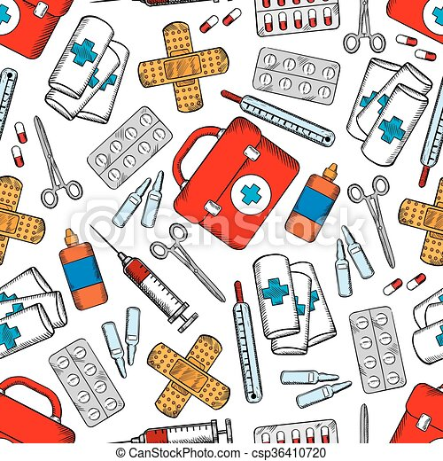 Medicines and medical supplies seamless pattern - csp36410720