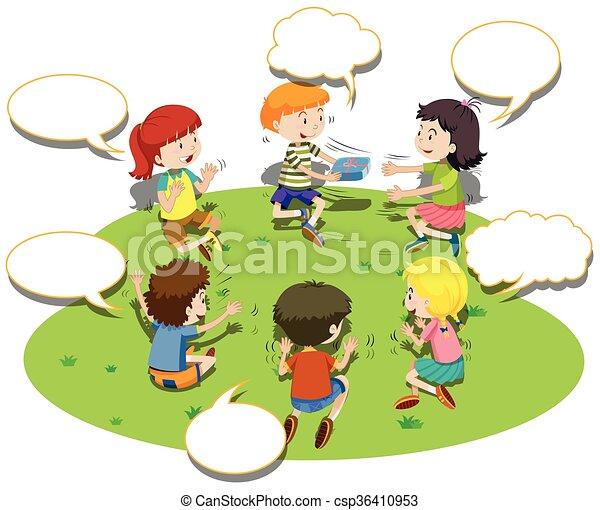 Kinder sitzen im kreis clipart  Clipart Vektor von spielen, kreis, kinder, spiel, sitzen ...