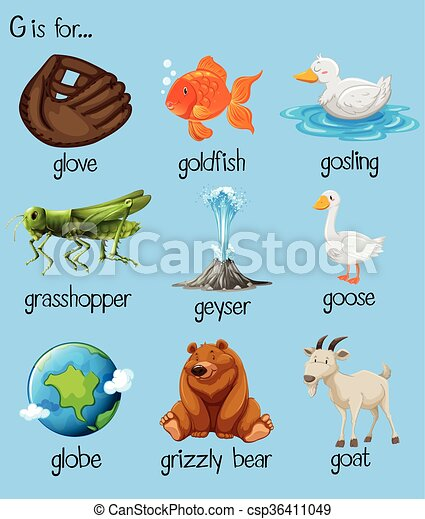 7 letter words beginning with g eps vector of poster letter g and many words illustration 25108 | can stock photo csp36411049
