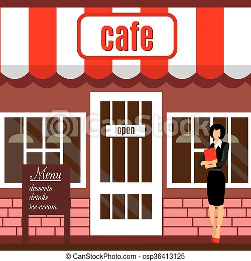 Restaurant building clipart  Vector Clip Art of Pizza restaurant building with terrace - Pizza ...