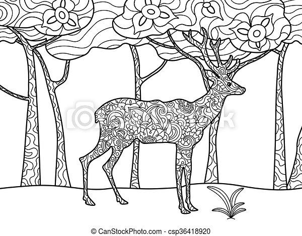 Deer coloring book for adults raster - csp36418920