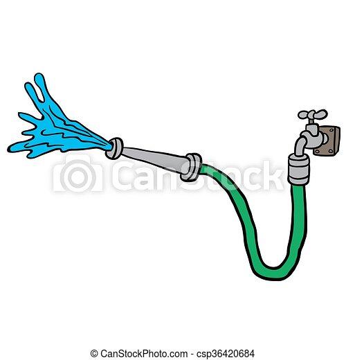 faucet with garden hose - csp36420684