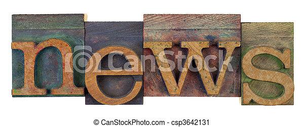 news in vintage letterpress type - csp3642131