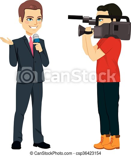 Clipart Vector of Cameraman And Reporter - Reporter and cameraman ...