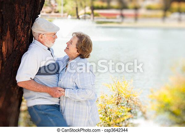 Happy Senior Couple in The Park - csp3642344