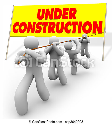Under Construction - Team Pulling Up Sign - csp3642398