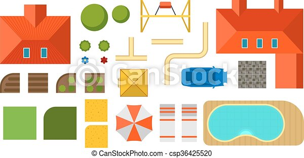 Vector Illustration of Landscape constructor plan private house ...