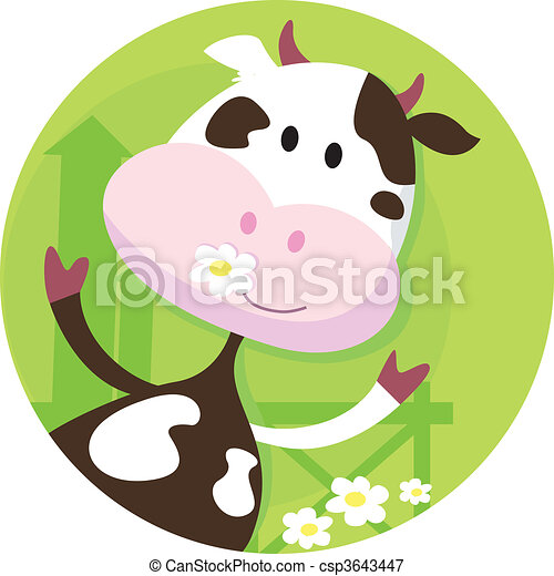 Happy cow character  - farm animal - csp3643447