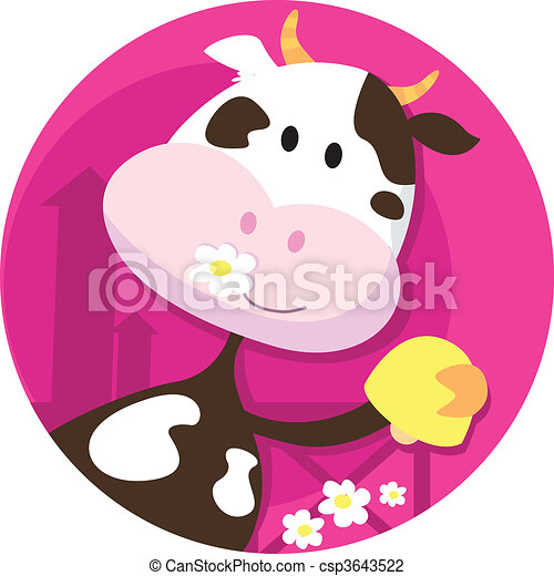 Happy cow character with bell - csp3643522