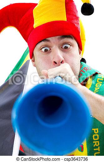 soccer fan blowing vuvuzela  - csp3643736