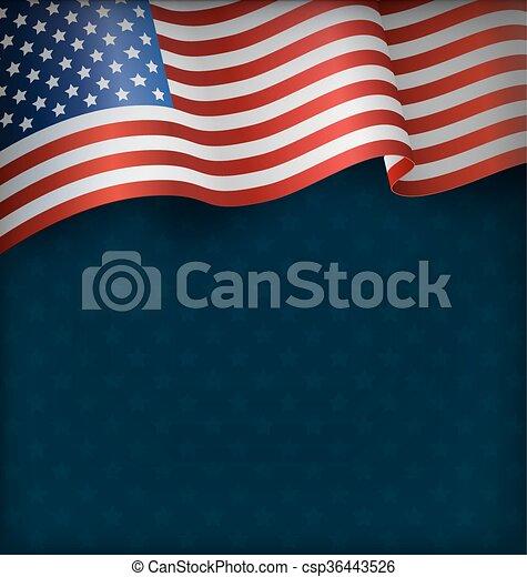 Wavy USA National Flag on Blue - csp36443526