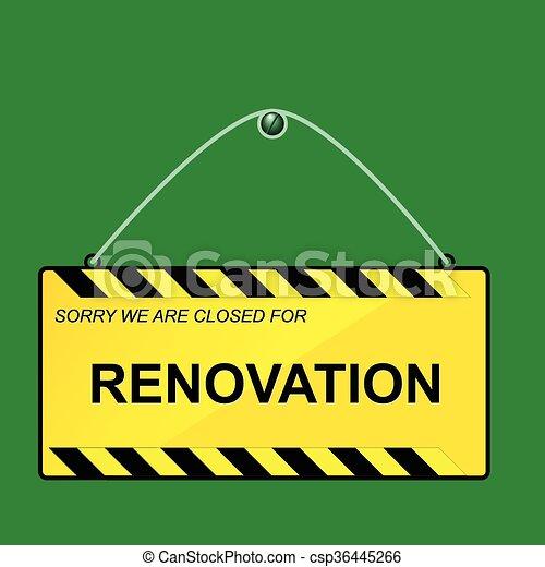renovation hanging sign csp36445266