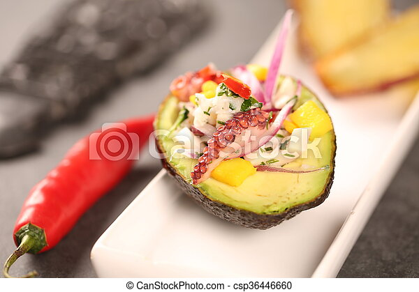 Stock image of ceviche with avocado e plantain typical for Art of peruvian cuisine