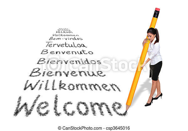 Businesswoman writing the word Welcome in various European languages with a giant pencil, isolated on a white background. - csp3645016