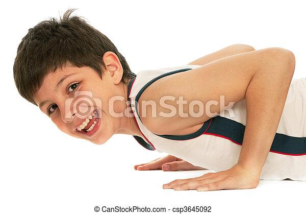 Sporty boy pushing up - csp3645092