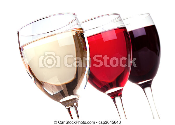 Red, rose and white wine in a wine glasses - csp3645640