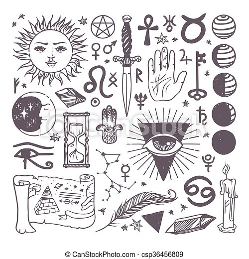 Set of trendy vector esoteric symbols collection sketch hand drawn - csp36456809